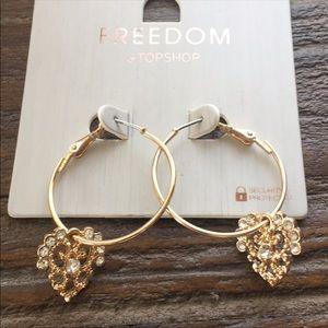 NWT Freedom at Topshop Crystal Heart Hoop Earrings
